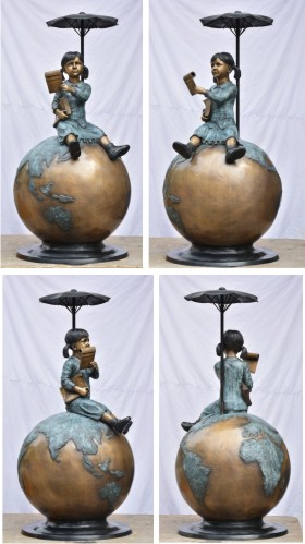 Bronze Girl on Globe Fountain Statue - DD F-073