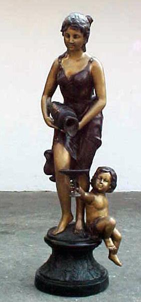 Bronze Lady Child Fountain - PA F-1006