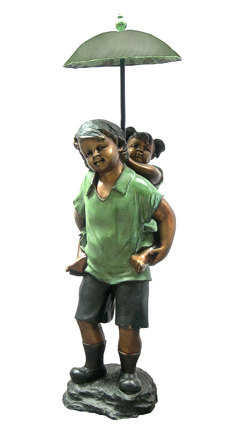 Boy Carrying Sister Umbrella Bronze Statue - DD F-113S
