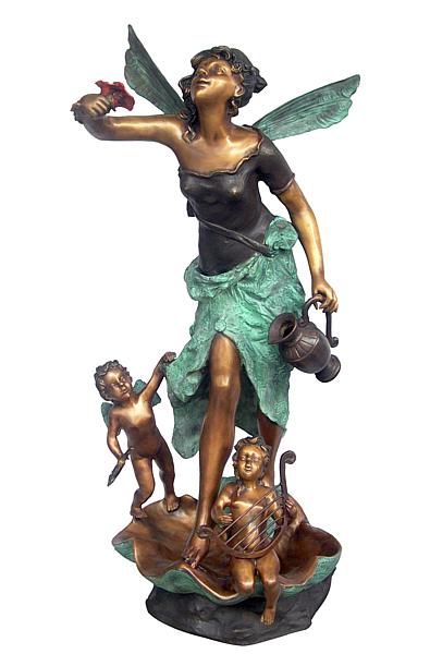 Bronze Fairy & Children Fountain - DD F-116