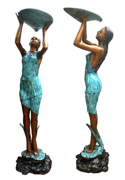 Bronze Lady Shell Fountain - DD F-118
