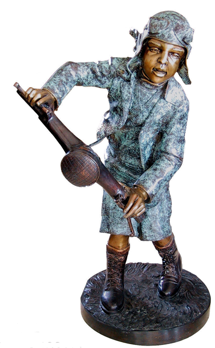 Bronze Aviator Boy Statue - DD G-029