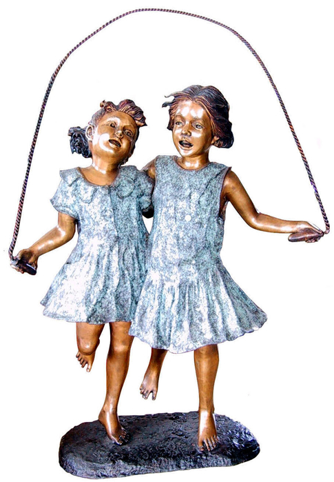 Bronze Sisters Jumping Rope Statue - DD G-030