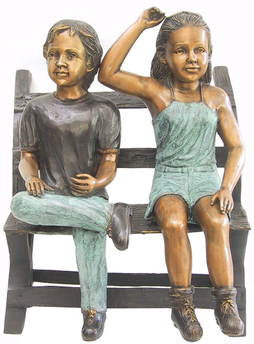 Bronze Children Bench Reading - DD G-032