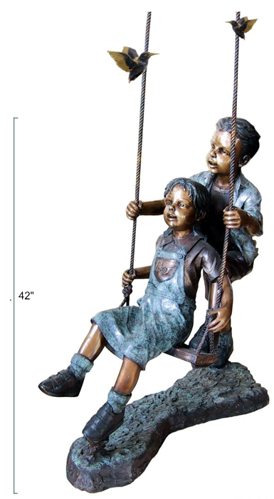 Bronze Boy & Girl Swing Statue - DD G-049