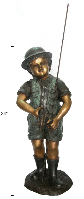 Bronze Boy Fishing Statue - DD G-058