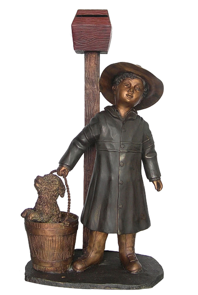 Bronze Girl Carrying Dog Mailbox - DD G-071