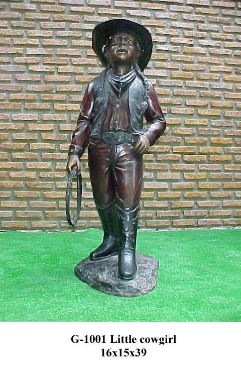 Bronze Cowgirl Statue - PA G-1001