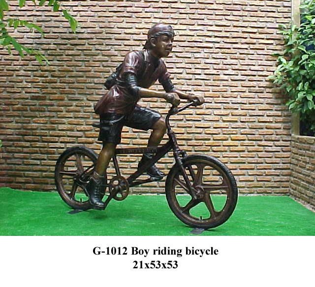 Bronze Boy Riding Bike Statue - PA G-1012