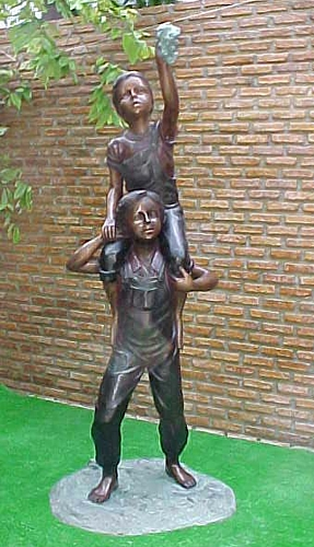 Bronze Boy & Girl Picking Apples Statue - PA G-1025