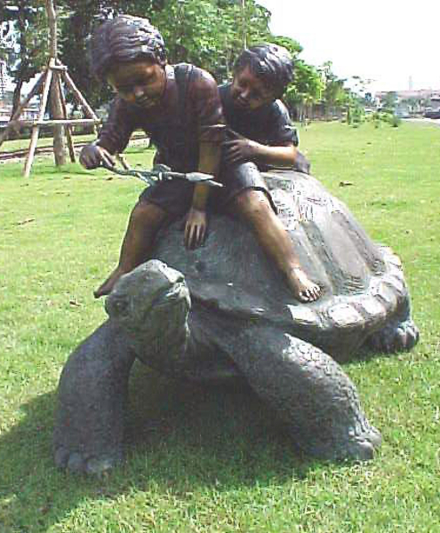 Bronze Boys on Turtle Statue - PA G-1029