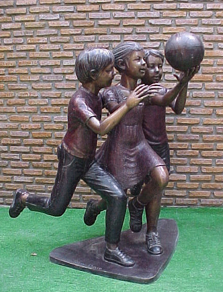 Bronze Kids Basketball Statue - PA G-1031
