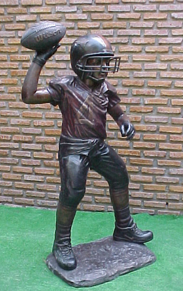 Bronze Boy Football Quarterback Statue - PA G-1037