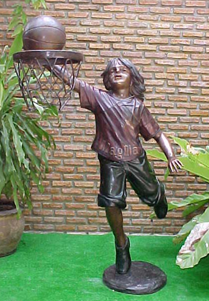 Bronze Girl Playing Basketball Statue - PA G-1040