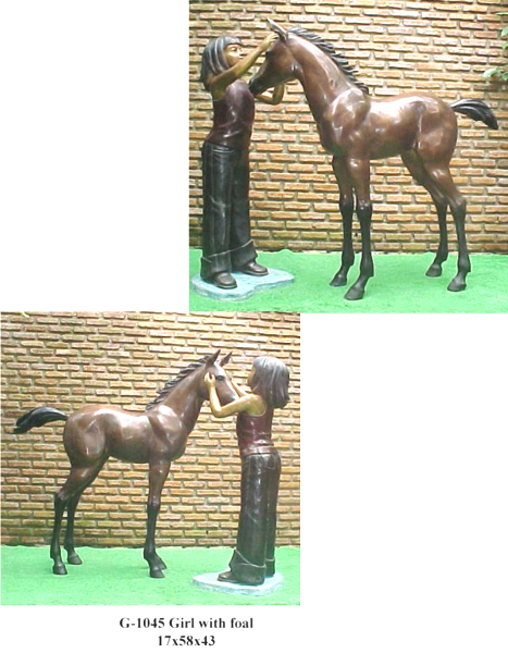 Bronze Girl with Foal Statue - PA G-1045