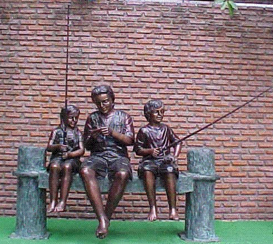 Bronze Family Fishing Statue - PA G-1050