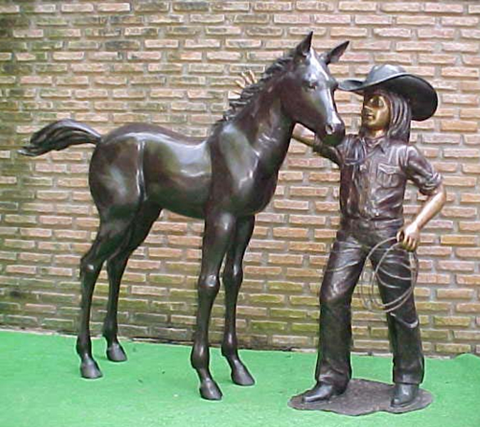 Bronze Cow Girl & Foal Statue - PA G-1051