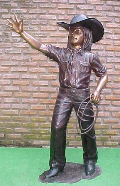 Bronze Cowgirl Statue - PA G-1052