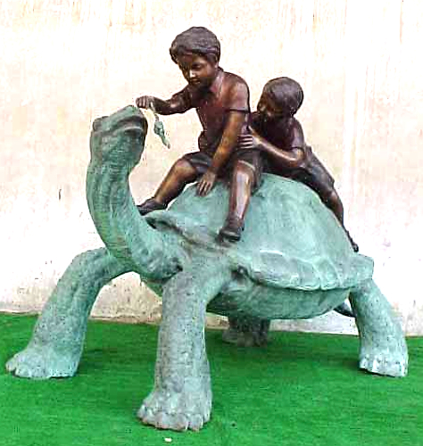 Bronze Boys Rideing Turtle Statue - PA G-1053