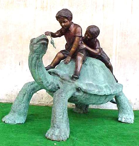 Bronze Boys Rideing Turtle Statue