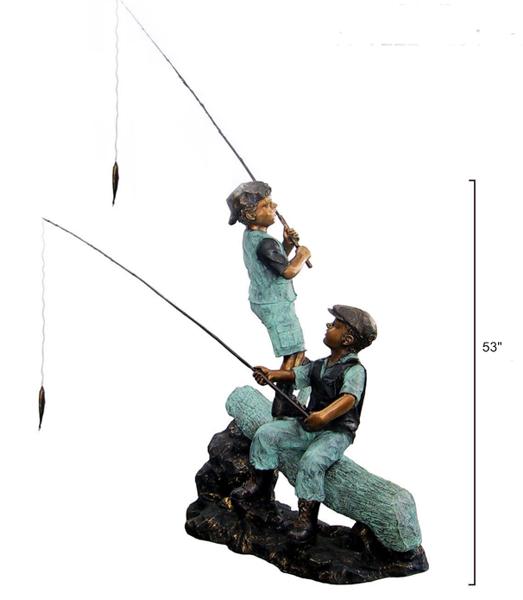 Bronze Boys Fishing on Log Statue - DD G-22