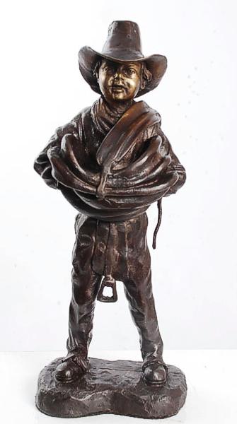 Bronze Cowboy Saddle Statue - ASI JS-295