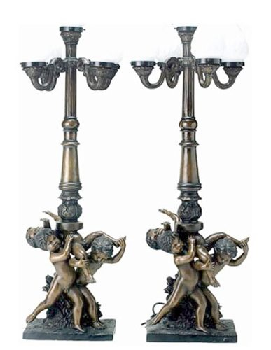 Bronze Cherub Candelabra or Torchiere Light - DD L-009