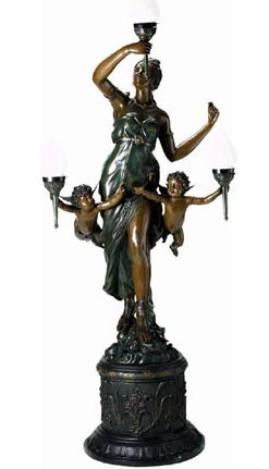 Bronze Lady & Cupid Torchiere - DD L-011