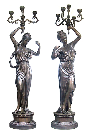 Bronze Ladies Torchiere Lamps - DD L-013A