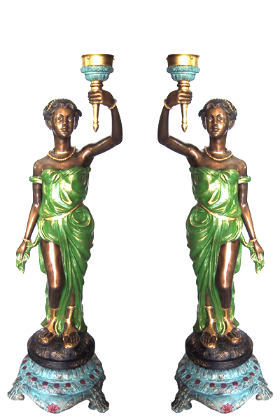 Bronze Ladies Torchiere Lighting - DD L-025