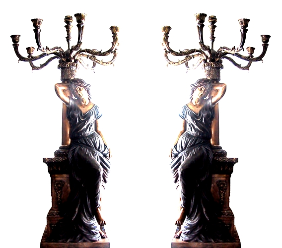 Bronze Ladies Candelabra or Torchiere Lighting - DD L-035