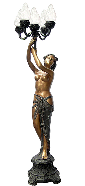 Bronze Lady Torchiere Lighting