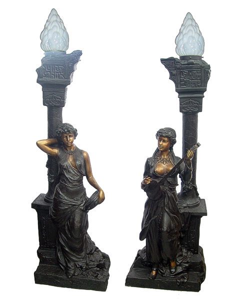 Bronze Musical Ladies Candelabra or Torchiere Light - DD L-043