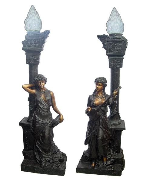 Bronze Musical Ladies Candelabra or Torchiere Light