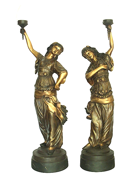 Bronze Ladies Torchiere Lighting - DD L-045