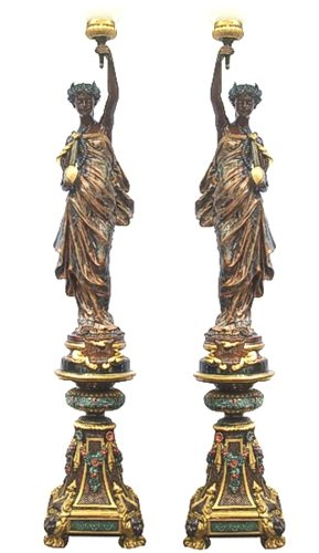 Bronze Musical Ladies Candelabra or Torchiere Light - DD L-046