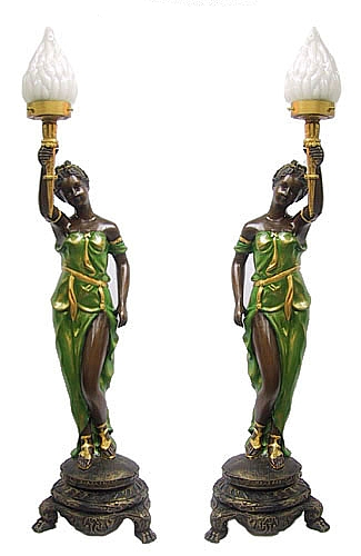 Bronze Ladies Torchiere Lighting - DD L-1604