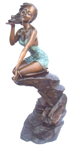 Bronze Girl with Duck Statue - KT P-833