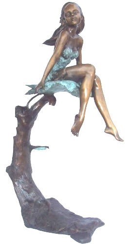 Bronze Girl in Tree Statue - KT P-834