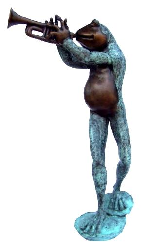 Bronze Frog Trumpet Statue - KT P-839