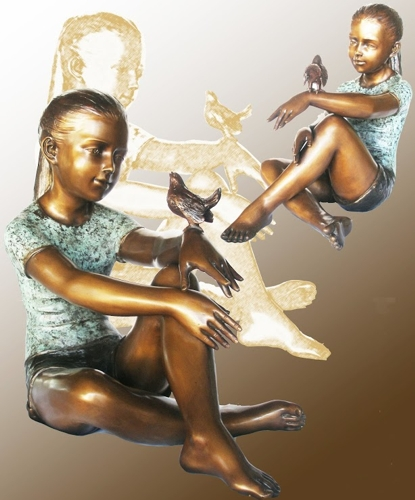 Bronze Girl & Bird Statue - KT P-853