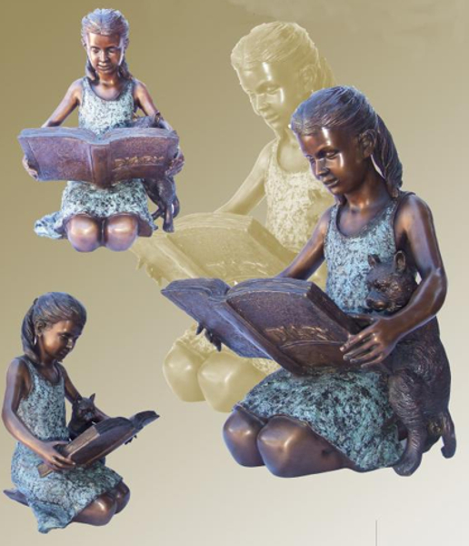 Bronze Girl and Puppy Statue - KT P-861