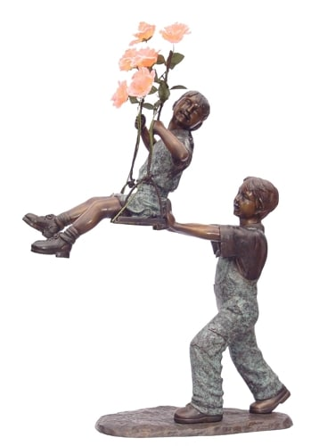 Bronze Boy & Girl Swing Statues - KT AP-521