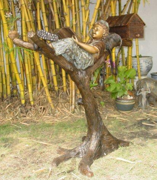 Bronze Kid Reading in Tree Mailbox - KT P-710