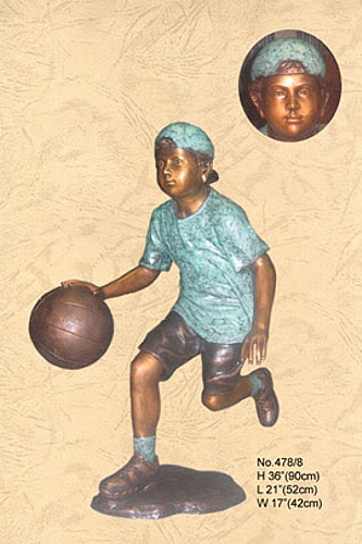 Bronze Boy Basketball Player Statue - KT 478/8