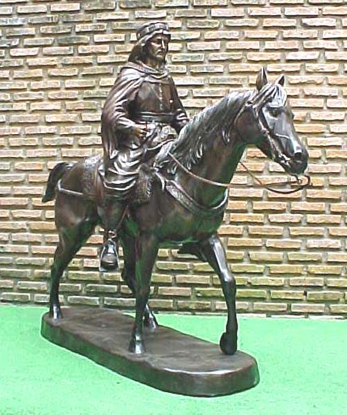 Bronze Arab on Horse Statue - PA S-1097