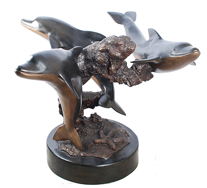 Bronze Dolphins Table - ASI TF4-231