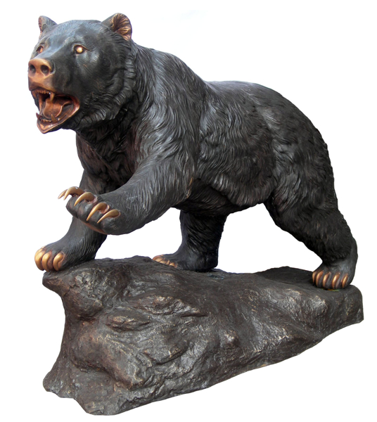 Snarling Bronze Attacking Bear Statue - DD A-208