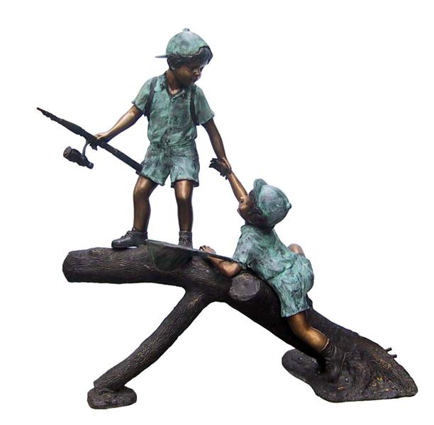Bronze Boys Fishing on Log Statue - DD F-099