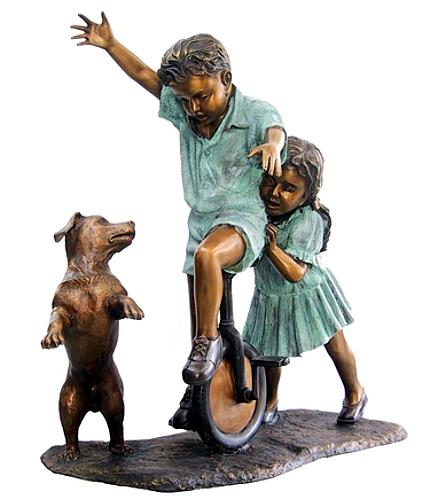 Bronze Boy & Girl Unicycle & Dog Statue - DD G-021